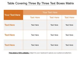 Table Covering Three By Three Text Boxes Matrix