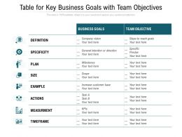 Table For Key Business Goals With Team Objectives