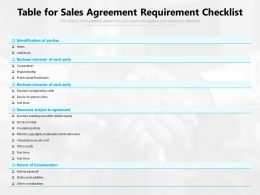 Table For Sales Agreement Requirement Checklist