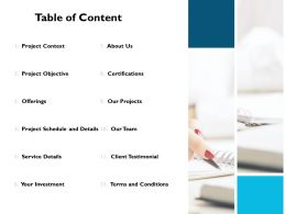 Table Of Content About Us J210 Ppt Powerpoint Presentation File Picture