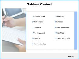 Table Of Content Action Plan C1067 Ppt Powerpoint Presentation Icon Portfolio