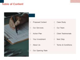 Table Of Content Action Plan L65 Ppt Powerpoint Presentation Styles Guide