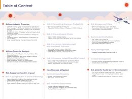 Table Of Content Airlines Financial Analysis N197 Powerpoint Presentation Elements