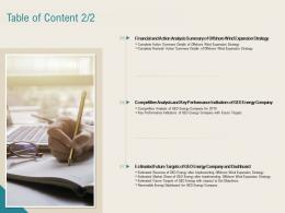 Table Of Content Analysis Renewable Energy Sector Ppt Powerpoint Presentation Icon Rules