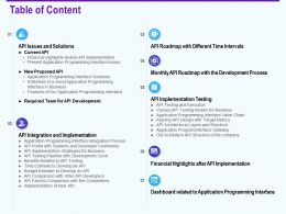 Table Of Content Api Integration And Implementation Ppt Introduction