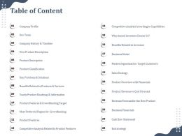 Table Of Content Benefits Related To Products And Services Ppt Inspiration