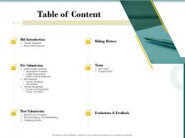 Table Of Content Bid Evaluation Management Ppt Powerpoint Presentation Images