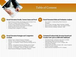 Table Of Content Brand Extension Risks And Evaluation Analysis Ppt Icon