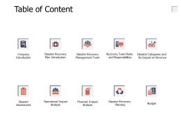 Table Of Content Budget A651 Ppt Powerpoint Presentation Portfolio Infographics