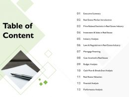 Table Of Content Budget Analysis M2199 Ppt Powerpoint Presentation Styles Objects