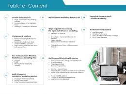 Table Of Content Business Consumer Marketing Strategies Ppt Graphics