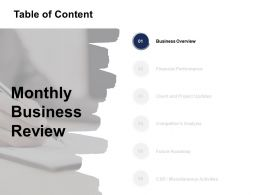 Table Of Content Business Overview Ppt Powerpoint Presentation Structure