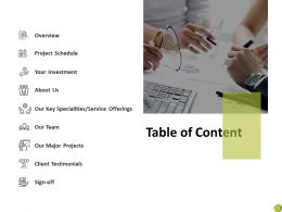 Table Of Content C911 Ppt Powerpoint Presentation Summary Vector