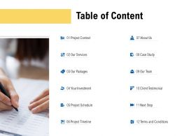 Table Of Content Client Testimonial L499 Ppt Powerpoint Presentation Styles Graphic Tips
