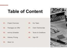 Table Of Content Client Testimonials L113 Ppt Powerpoint Slides Sample