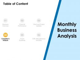 Table Of Content Competitor Analysis Ppt Powerpoint Presentation Layouts Portfolio