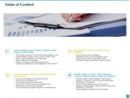 Table Of Content Cultural Intelligence M285 Ppt Powerpoint Presentation File Graphics