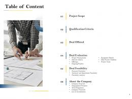 Table Of Content Deal Evaluation Ppt Powerpoint Presentation Infographics Slides
