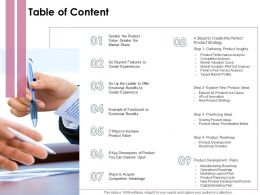 Table Of Content Dimensions Of Product Ppt Powerpoint Presentation Slides