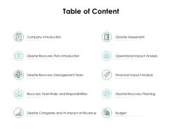 Table Of Content Disaster Categories Ppt Powerpoint Presentation Show Visuals