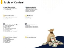 Table Of Content Executive Summary Ppt Powerpoint Presentation Ideas Examples