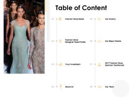 Table Of Content Fashion Show Detail Powerpoint Presentation File Graphic