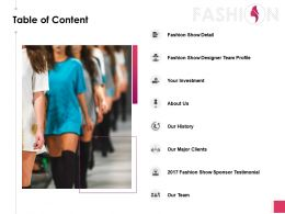 Table Of Content Fashion Show Detail Ppt Powerpoint Presentation Gallery Skills
