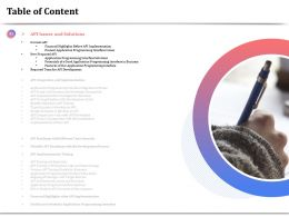 Table Of Content Features Of Our Application Programming Interface Ppt Download