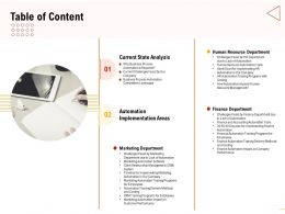 Table Of Content Finance Automation Impact On Company Performance Ppt Graphics