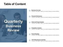 Table Of Content Financial Performance Ppt Powerpoint Presentation Gallery Example