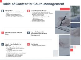 Table Of Content For Churn Management Dashboard Ppt Powerpoint Presentation Show Ideas
