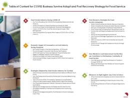 Table Of Content For COVID Business Survive Adapt And Post Recovery Strategy For Food Service Ppt Pictures