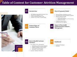 Table Of Content For Customer Attrition Management Key Statistics Ppt Influencers