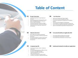 Table Of Content Forecasted Healthcare Application Roi Ppt Powerpoint Show