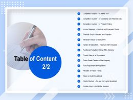 Table Of Content Fund Requirement For Acquisitions N53 Ppt Powerpoint Presentation File Aids