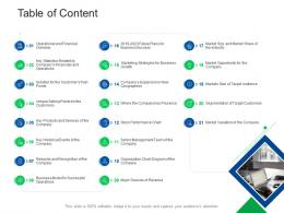 Table Of Content Investor Pitch Presentation Raise Funds Financial Market Ppt Show