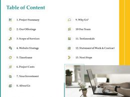 Table Of Content L1529 Ppt Powerpoint Presentation Structure