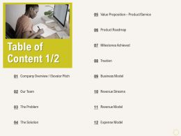 Table Of Content L2180 Ppt Powerpoint Presentation Professional Show
