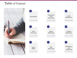 Table Of Content Lead Nurturing Ppt Powerpoint Presentation Infographics Mockup