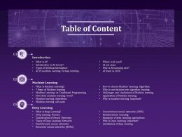 Table Of Content Machine Learning N227 Ppt Powerpoint Presentation Show