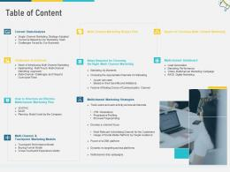 Table Of Content Multi Channel Marketing Ppt Professional
