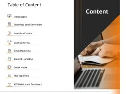Table Of Content Optimized Lead Generation Ppt File Formats