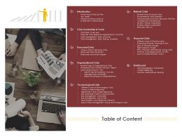 Table Of Content Organizational Crisis Ppt Powerpoint Presentation Infographic Template Background