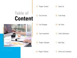 Table Of Content Our Team C1057 Ppt Powerpoint Presentation File Gridlines