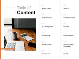 Table Of Content Our Team C923 Ppt Powerpoint Presentation Professional Slides