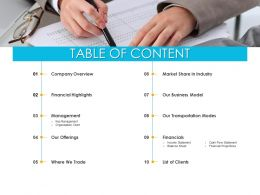 Table Of Content Our Transportation Modes Ppt Powerpoint Presentation