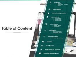 Table Of Content Overcome Branding Challenges Ppt Powerpoint Presentation Gallery Portfolio