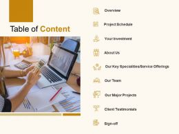 Table Of Content Overview Investment C896 Ppt Powerpoint Presentation Gallery Example