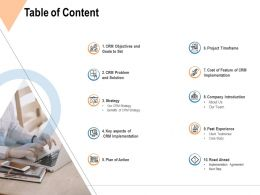 Table Of Content Past Experience Ppt Powerpoint Presentation File Master Slide