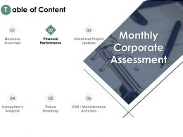 Table Of Content Performance Analysis Ppt Powerpoint Presentation Pictures